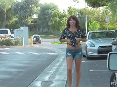 Nasty Bojana takes off her clothes and walks naked in a park