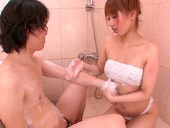 Slutty asian Tiara Ayase in sexy white lingerie in a bathtub