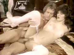 Filthy dark haired whore gets her pussy licked on the bed