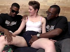 Attractive Emma Snow Goes Hardcore With Two Hot Guys