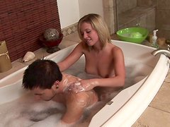 Sweet blonde Shay gives a wet blowjob