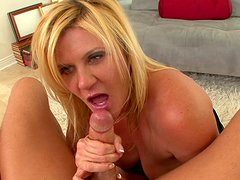 Mom blonde Ginger Lynn is swallowing sperm