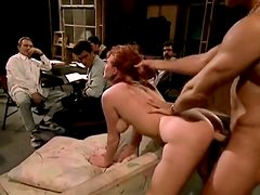 Horny and filthy bitch with red hair gets drilled hard