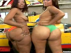 Sweet Mia And Her GF Go Hardcore With A Guy Against A Car