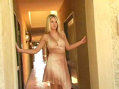 Alison Angel licks her tits in the hallway and enjoys it much