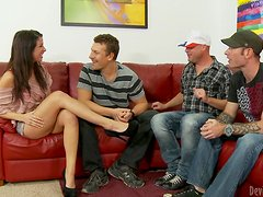Mia Gold gets double penetrated in amazing gangbang scene