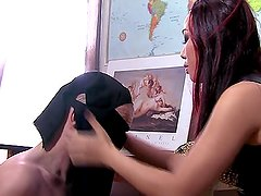 Asian Mistress shows Arab Slave how to wor
