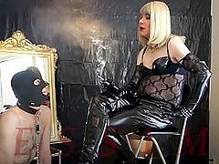 Divine Smoking Mistress & Ashtray slave