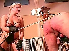 Mistress canes the guy and leaves marks