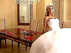 Bride in beautiful wedding dress spreading legs (Try something different » Free)
