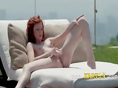 Red neat summer pussy rubbing