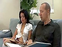 Sexy Latina In A Skirt And Kneehigh Socks Gets Fucked