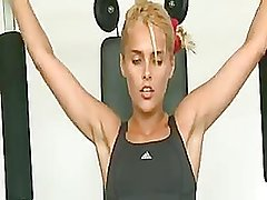 sports sexy blonde angry at the gym