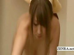 Subtitled busty Japanese AV star becomes a nudist maid