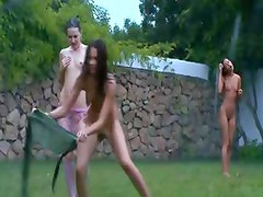 Irish chicks watersports in the garden