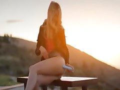 blond babe Francesca during sunset