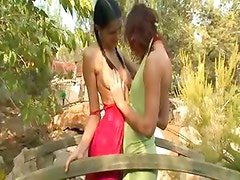 Beautiful girls licking cunts outdoors