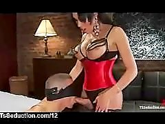 mia isabella in a red corset gets her cocked sucked