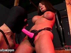 Mistress makes gimp suck her cum soaked strapon after wank and cock pumping