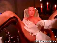 Blonde doctor inserts big toys part4