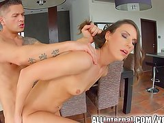 AllInternal Brunette newcomer is filled with 2 creampies
