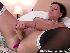 British granny loves a dildo up her ass