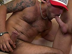 Str8 hairy and hung Latino,Nicko, thinks he's here to make a pussy porn flick,but he's getting cock.