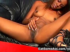 Black Beauty Dena Caly Licks Hairy Butthole Then Gets Cum in Mouth
