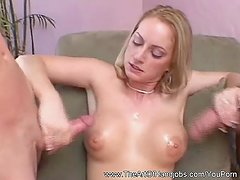 Double Handjob From Blonde MILF