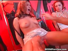Check hot two sexy brunette slave get part5