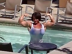 aleesha swimming muscular female