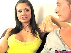 Beautiful european raven babe is a spitter