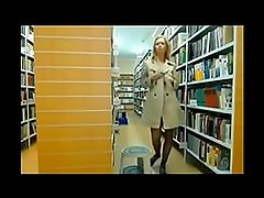 Girl caught in the library giving a show on webcam