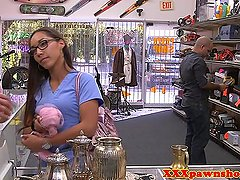 Real latina nurse sells panties to a pawnshop