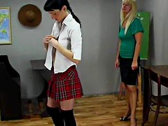 Lesbian teacher whips and punishes shy schoolgirl