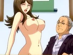 Busty Japanese hentai hot riding her boss cock