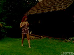 Hot Outdoors Masturbation With The Sex Redhead Teen Jarmila