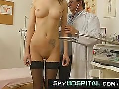 Beautiful lean brunette gyno clinic exam on hidden cam
