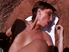 Naughty French girl beach fucking