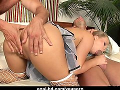 Alluring blonde with big tits enjoys a wild anal threesome