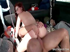 Slutty redhead fucks penis in the bus