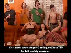 Amateur sex orgy with naked hotties sucking and riding cock in bar