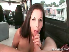 Blowjob in the bus with hot amateur