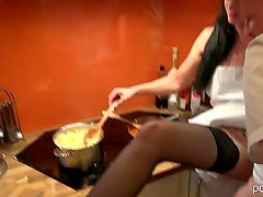 German slut fucks old man while cooking