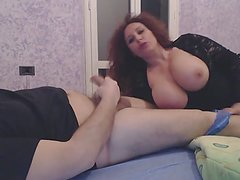 Slutty mature woman sucks a small dick and gets a facial