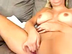 Big tits blonde with tan lines fingers pussy
