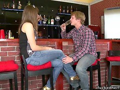 Banging a Teen Pussy Against the Bar in Restaurant