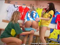A Lesbian Threesome With Hot Teens Wearing Soccer Jerseys