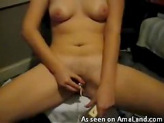 Stunning girl drilling toys in and out of her pussy