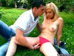 Outdoors Sex in the Park with a Blonde with Natural Tits and Pink Pussy